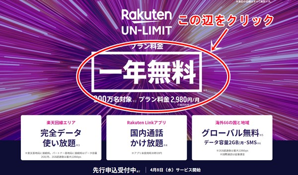 Rakuten UN-LIMITの申込方法1